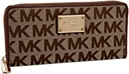 Michael Kors MK Logo Zip Around Continental Wallet in Beige, Ebony & Mocha