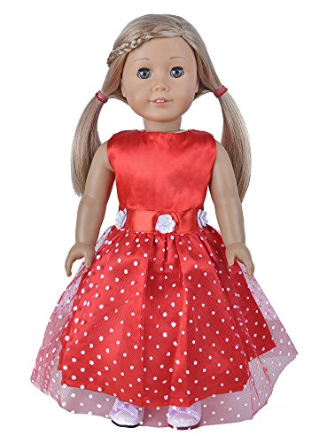Ebuddy Red Fashion Doll Long Dresses Fits 18 Inch Girl Dolls