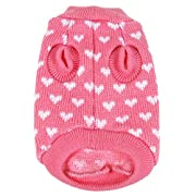 PanDaDa Puppy Dog Little Heart Pattern Knit Sweater Coat Jumper Jacket Large