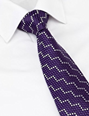 Savile Row Inspired Made in England Pure Silk Diagonal Spotted Tie