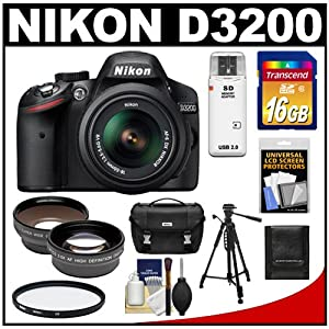 Nikon D3200 Digital SLR Camera & 18-55mm G VR DX AF-S Zoom Lens (Black) with 16GB Card + Case + Filter + Tripod + Telephoto & Wide-Angle Lenses + Accessory Kit