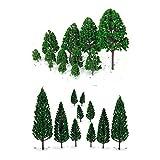 22本セット 樹木  木 モデルツリー 情景コレクション ザ ・ 鉄道模型・ジオラマ・建築模型・電車模型に  3-16 cm 緑