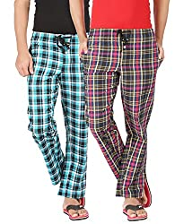 Joven Mens Cotton Checkered Multicolor Pyjama-Y003
