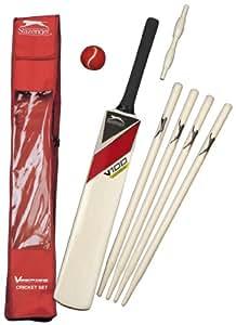 Slazenger V100 Junior Cricket Set - White/Red/Black, Size 6