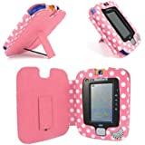 Gadget Giant ® VTech InnoTab 3 Pink & White Polka Dots Leather Wallet Case Cover Stand Protector - Cute Fun Polka Dot Dots Design
