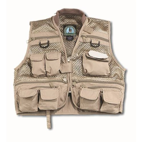 Master Sportsman Youth Mesh Fishing Vest (Khaki) Large