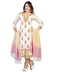 Lookslady Cotton White Women Unstitched Salwar Kameez Suit Dress Material