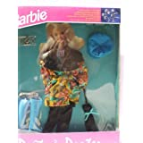 "Barbie Prt A Porter Mustard/Brown/Turquoise Autumn Leaf Overlay On Black ""Snakeskin"" Jacket, Black Pants, Black..."