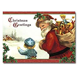 "Santa with Child - 5"" x 7"" Pop Up Christmas Greeting Card"