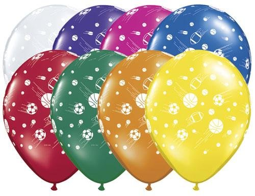 "(12) Sports Balls Latex Balloons 11"" Soccer Football Basketball Assorted Colors"