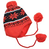 Angelina Double-layer / Microfiber-lined Cozy Pilot Cap with 3 Supersized Pompon, #0701 Red/Black