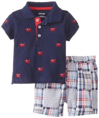 Little Me Baby-Boys Newborn Crab Shortset, Navy Multi, 3 Months front-942688