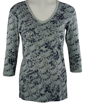 Glima - Floral Lace, 3/4 Sleeve, V-Neck, Light Blue with Patterned Geometric Floral Design, Cotton Tunic Top