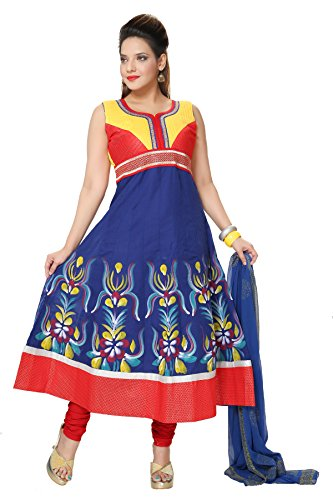 Divinee Blue, Red and Yellow Cotton Readymade Anarkali Suit