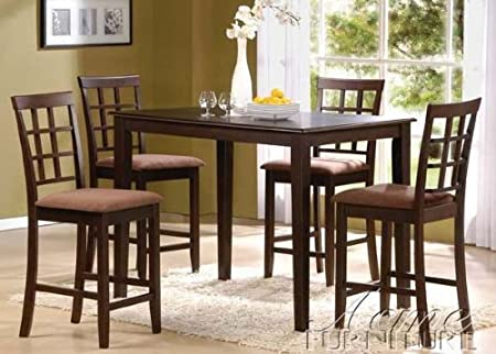 5pc Counter Height Dining Table & Chairs Set in Brown Finish