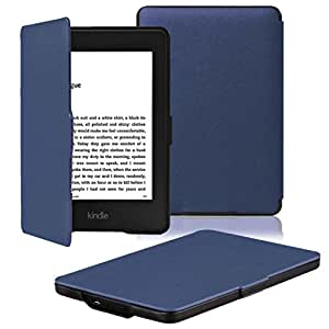 OMOTON® Kindle Paperwhite Case Cover -- The Thinnest and Lightest PU Leather Smart Cover for All-New Kindle Paperwhite (Fits All versions: 2012, 2013, 2014 and 2015 All-new 300 PPI Version), Navy Blue
