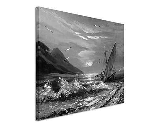 50x70cm Leinwandbild schwarz weiß in Topqualität Malerei SeSchwarz Weissoot Sonnenuntergang