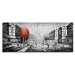 Neron Art - Hand painted Cityscape Oil Painting on Gallery Wrapped Canvas - Paris City 48X20 inch
