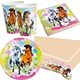 Pink Charming Horses Party Pack for 8 - 8 cups, 8 plates, 16 napkins, 1 tablecover
