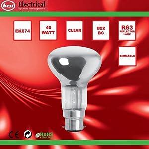 Bulk Hardware BH00562 BC R63 Reflector Lamp, 40 W - Pack of 5 from Bulk Hardware Ltd