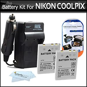 2 Pack Battery And Charger Kit For Nikon P100 P500 P510 P520 Digital Camera Includes 2 Extended (1100 Mah) Replacement Nikon EN-EL5 Batteries + AC/DC Rapid Charger + LCD Screen Protectors + ButterflyPhoto MicroFiber Cleaning Cloth