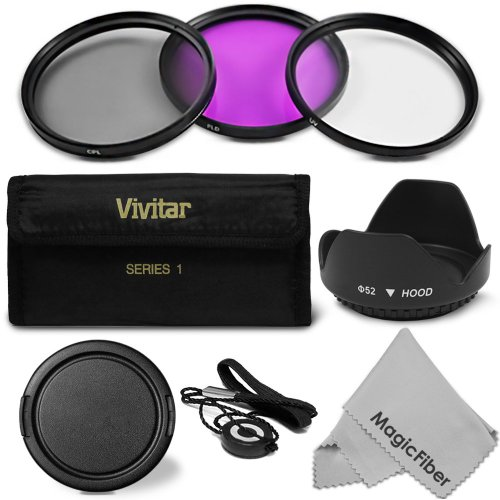 52MM Professional Lens Filter Accessory Kit for Canon EOS M Compact Camera and EOS Rebel with a EF 50mm f/1.8 II or a EF 35mm f/2 Wide Angle Zoom Lenses - Includes: Vivitar Filter Kit (UV, Polarizing, Fluorescent) + Carry Pouch + Tulip Lens Hood + Snap-On Lens Cap + Cap Keeper Leash + MagicFiber Microfiber Lens Cleaning Cloth (Goja Filter Kit compare prices)
