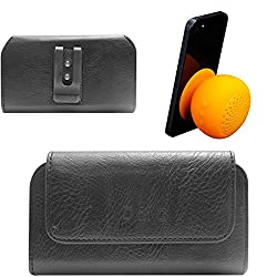 DMG Premium PU Leather Cell Phone Pouch Carrying Case with Belt Clip Holster for Huawei Honor 4C (Black) + Waterproof Bluetooth Suction Stand Speaker