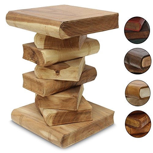 Nachttisch-Beistelltisch-Bcherhocker-Tisch-Hocker-Buch-Stapel-Holz-50cm-Gro-FarbeNatur