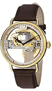 Stuhrling Original Men's 465.3335K2 Symphony Aristocrat Bridge Automatic Skeleton Gold Tone Leather Watch