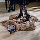Animated Lifelike Werewolf Rug for Halloween - Howls and Eyes Glow Red When You Step on it's fur