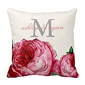 Amazon.com - Decors Vintage Floral Rose Monogram Throw Pillow Case Cushion Cover Home Sofa ...