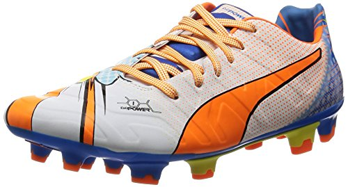 PumaevoPOWER 1.2 POP FG - Calcio scarpe da allenamento uomo , Bianco (Weiß (white-orange clown fish-electric blue lemonade 01)), 43