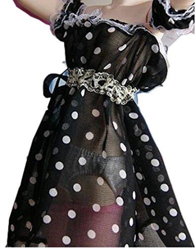 Doll funwari room wear off shoulder dress (black dot L b)