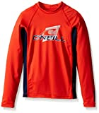 O'Neill Wetsuits UV Sun Protection Youth Skins Long Sleeve Crew Sun Shirt Rash Guard, Neon Red/Navy/Neon Red, 6
