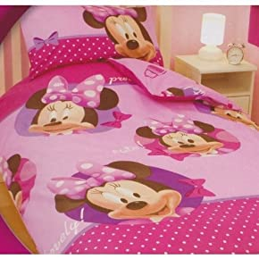 Girls Minnie Mouse Reversible Quilt/Duvet Cover Bedding Set