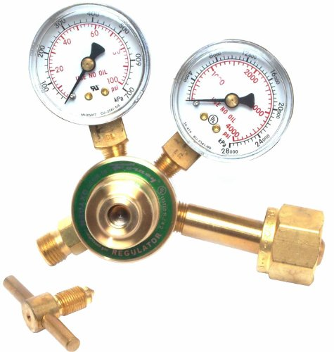 Forney 87070 Medium Duty 1-1/2-Inch Face Victor Style Oxygen Regulator Side Mount