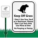 """SmartSign Aluminum Sign, Legend """"Keep Off Grass - Funny Dog Poop Message"""" with Graphic, 12"""" high x 9"""" wide sign plus 3' tall stake, Black on White"""