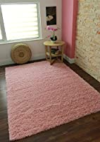 Ontario Bright Colourfast Super Soft Baby Pink Shaggy Rugs - Available in 4 Sizes by The Rug House