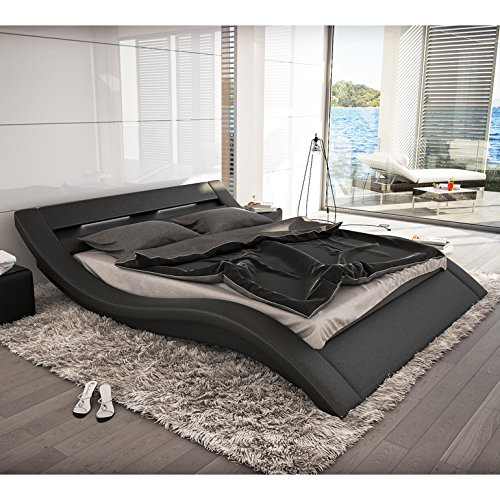 polster bett 180x200 cm schwarz aus kunstleder mit led. Black Bedroom Furniture Sets. Home Design Ideas