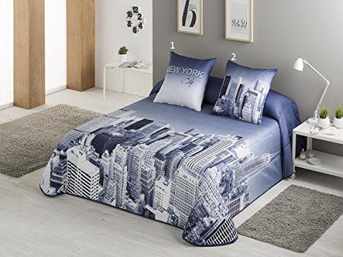 Textilhome - Colcha Bouti estampada NEW YORK 105 cm. Color Azul