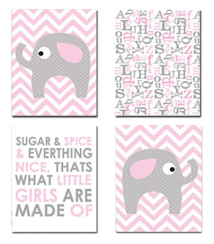 The Kids Room by Stupell Grey Elephant on Pink and White Chevron Sugar and Spice 4-Pc Rectangle Wall Plaque Set