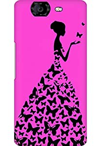 AMEZ designer printed 3d premium high quality back case cover for Micromax Canvas A350 (bright pink girl princess)