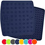 ★ Set of (2) Premium, 5 in 1 Multipurpose Silicone Kitchen Tool ★ Trivets, Pot Holders, Spoon Rest, Jar Opener, Coaster ★ Extreme Heat Resistance ★ Thick & Flexible ★Great Christmas Gifts (Navy Blue)