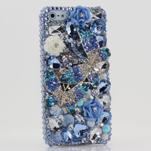 Great Price Bling iphone 5 5S case cover faceplate Luxury 3D Swarovski Crystal Diamond Double Butterfly Blue Design (100% Handcrafted by BlingAngels)