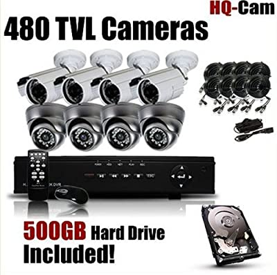 HQ-Cam® 8-Channel 960H High Resolution H.264 DVR Surveillance Security Package System with 4 x 480 TV Lines Bullet & 4 X 700 TVL Dome Indoor/Outdoor Day Night Vision Cameras For Home Security with Power Suplies and Cables, Pre-Installed 750GB HDD