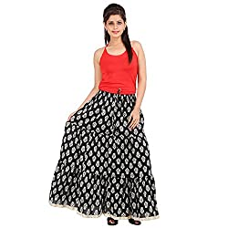 Eye-Catching Black long Cotton Printed Skirt