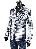 チェックシャツ メンズ 厚手 トップス ネルシャツ コットン リサイクル R281006-06 ブラック M