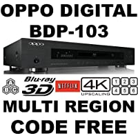 NEW 2013 OPPO BDP-103 2D/3D 2K/4K PRO MOD MultiZone Blu Ray Zone A/B/C & Multi Region Code Free DVD 012345678. Dual HDMI RS-232C MHL SA-CD HDCD AVI DivX XviD MKV Comes with EU & UK mains power plugs for World-Wide use 100~240V 50/60Hz. (Free HDMI Cable)
