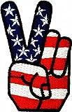 Victory USA Patch Peace Sign Zeichen Aufnäher Peace Fingers Bügelbild Aufbügler Flicken Embroidered Iron on Anti-War Patches Hippie Applikation