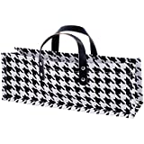 True  by True Fabrications Jute Houndstooth Fabric Wine Bag Carrier with Faux Leather Handles - One Bag